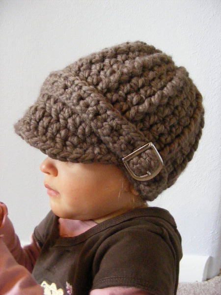 1T to 2T Toddler Taupe Buckle Beanie