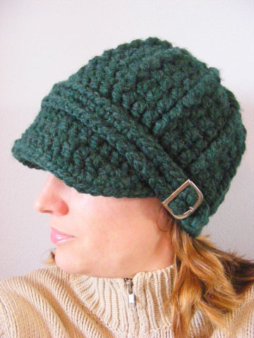 Evergreen pine buckle beanie winter hat by Two Seaside Babes