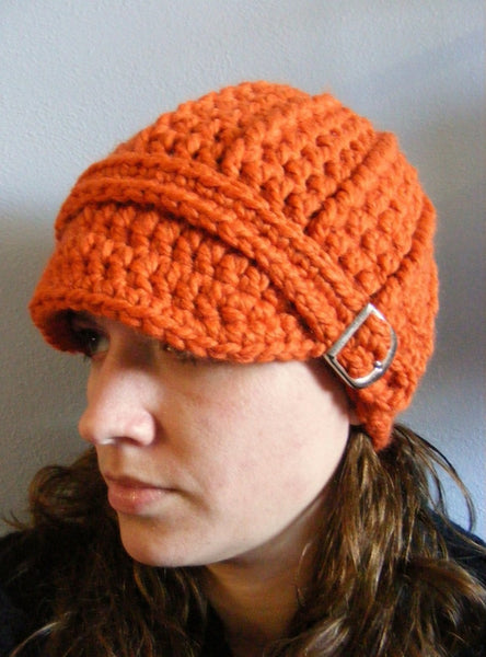 Adult Orange Pumpkin Buckle Beanie by Two Seaside Babes