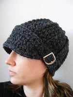 Adult Charcoal Gray Buckle Beanie