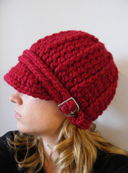 Adult Cranberry Red Buckle Beanie