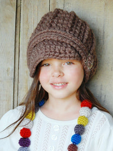 4T to Preteen Kids Taupe Buckle Beanie by Two Seaside Babes