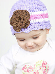 9 to 12 Month Lavender, White, Pink, & Brown Striped Flapper Beanie by Two Seaside Babes