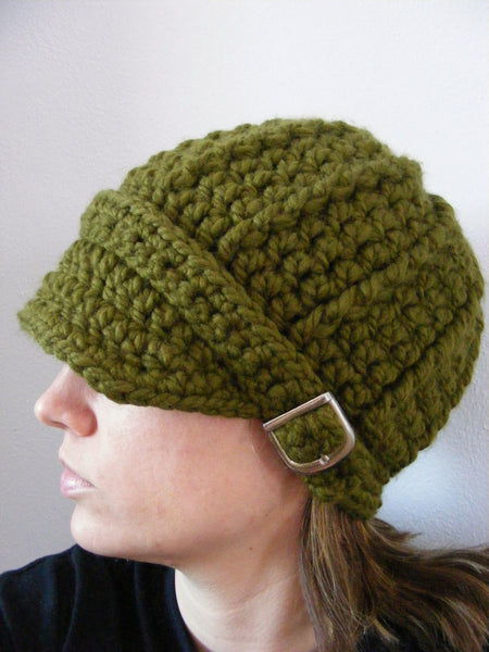 Adult Olive Green Buckle Beanie