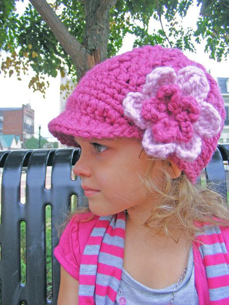 Custom flower beanie | chunky crochet thick winter hat | baby, toddler, girl's, women's sizes | Raspberry Pink & Pink Blossom