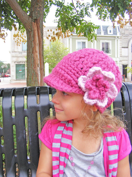 2T to 4T Raspberry Pink & Pink Blossom | chunky crochet flower beanie, thick winter hat | baby, toddler, girl's, women's sizes