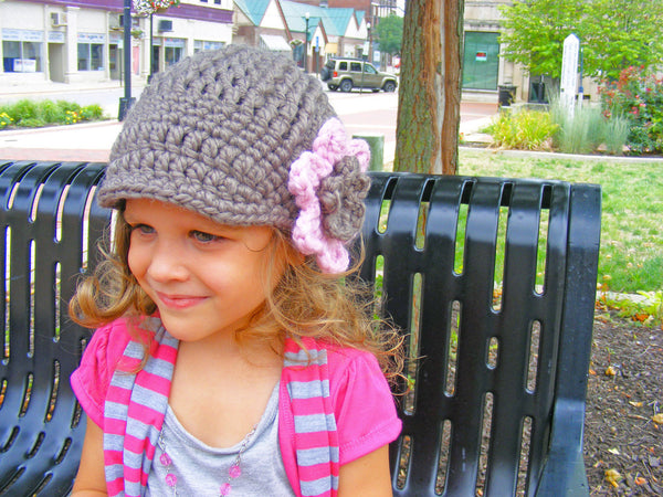 2T to 4T Taupe & Pink Blossom | chunky crochet flower beanie, thick winter hat | baby, toddler, girl's, women's sizes