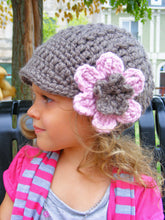 2T to 4T Taupe & Pink Blossom | chunky crochet flower beanie, thick winter hat | baby, toddler, girl's, women's sizes by Two Seaside Babes