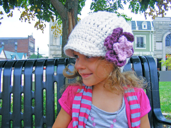 2T to 4T Cream, Purple Plum, & Pink Blossom | chunky crochet flower beanie, thick winter hat | baby, toddler, girl's, women's sizes