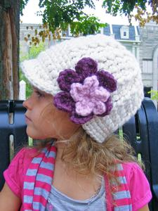 Custom flower beanie | chunky crochet thick winter hat | baby, toddler, girl's, women's sizes | Cream, Purple Plum, & Pink Blossom