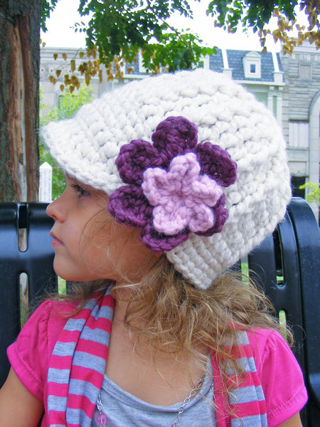 2T to 4T Cream, Purple Plum, & Pink Blossom | chunky crochet flower beanie, thick winter hat | baby, toddler, girl's, women's sizes by Two Seaside Babes