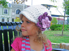 2T to 4T Toddler Girl Cream, Purple Plum, & Pink Blossom Flower Beanie