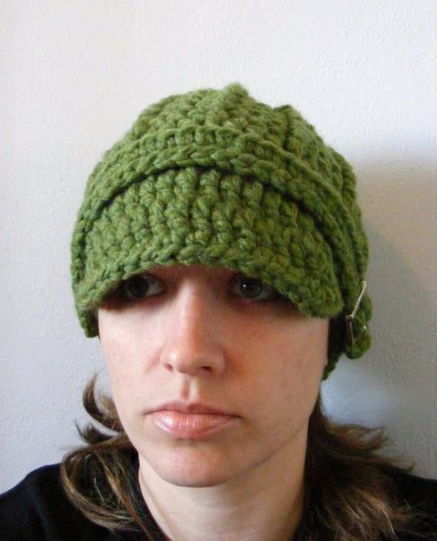 Adult Green Grass Buckle Beanie