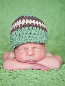 Newborn Olive Green, Chocolate Brown, & Khaki Striped Visor Beanie by Two Seaside Babes