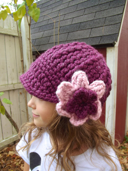 2T to 4T Purple Plum & Pink Blossom | chunky crochet flower beanie, thick winter hat | baby, toddler, girl's, women's sizes