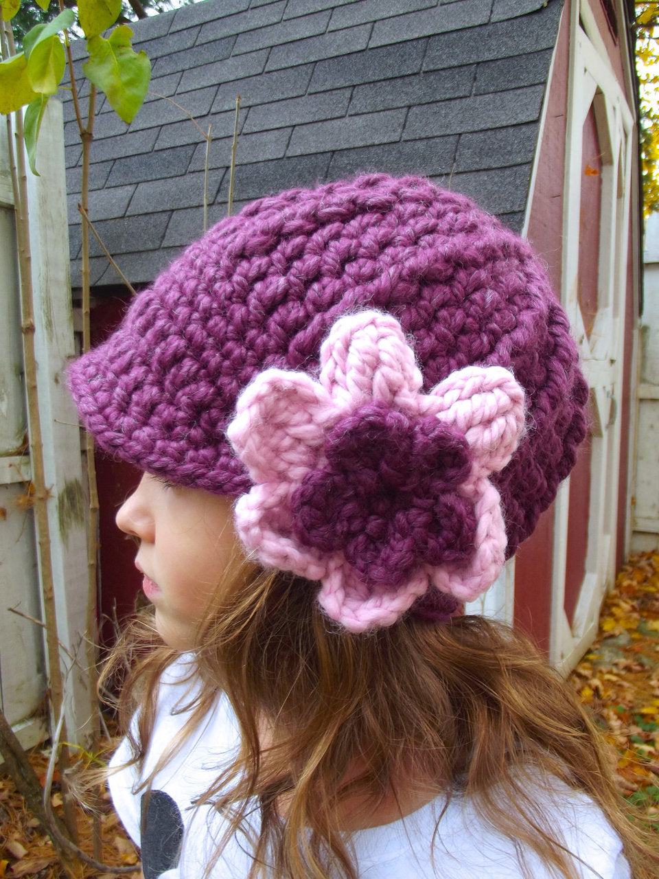 2T to 4T Purple Plum & Pink Blossom | chunky crochet flower beanie, thick winter hat | baby, toddler, girl's, women's sizes by Two Seaside Babes