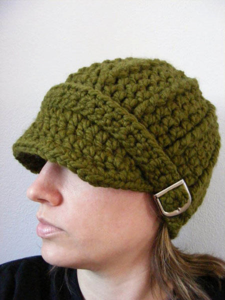 Adult Olive Green Buckle Beanie by Two Seaside Babes
