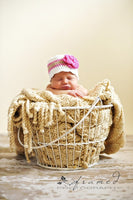 Newborn White, Pink, Tan, & Hot Pink Striped Flapper Beanie