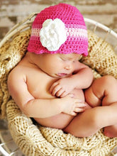 Newborn Hot Pink, Pink, Light Pink, & White Striped Flapper Beanie by Two Seaside Babes