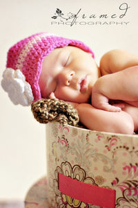 Newborn Hot Pink, Pink, Light Pink, & White Striped Flapper Beanie