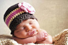 Newborn Brown, Cream, Pink, & Light Pink Striped Flapper Beanie
