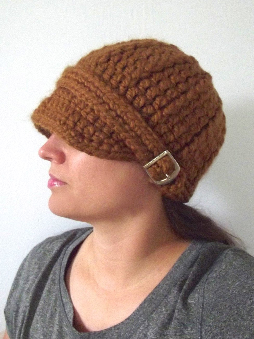 Hazelnut buckle beanie winter hat by Two Seaside Babes