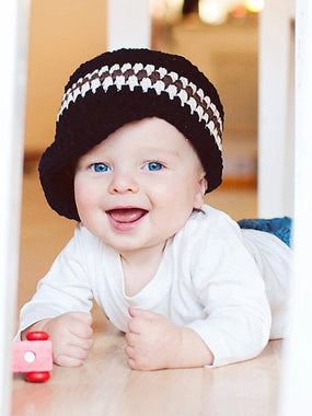 9 to 12 Month Navy Blue, Ecru, & Chocolate Brown Striped Visor Beanie by Two Seaside Babes