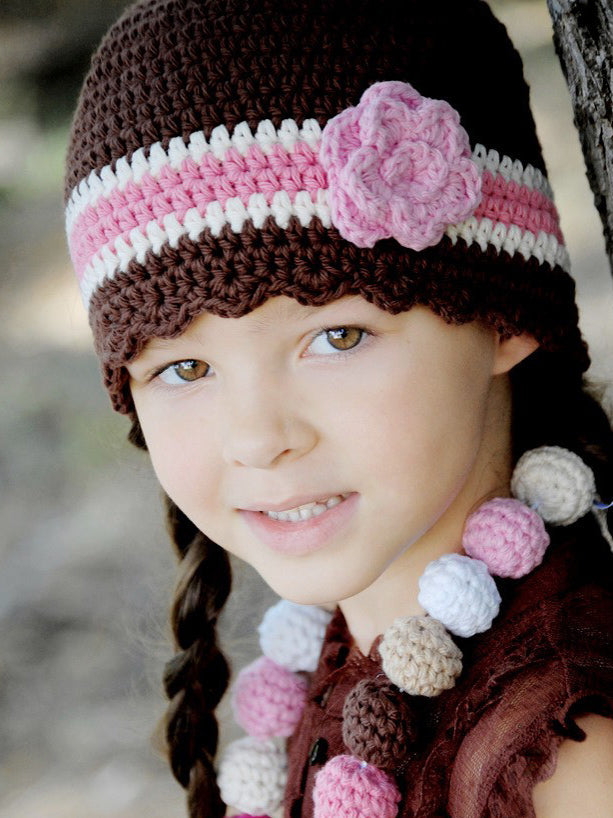4T to Preteen Brown, Cream, Pink, & Light Pink Striped Flapper Beanie by Two Seaside Babes
