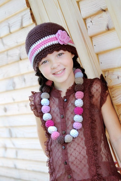 4T to Preteen Brown, Cream, Pink, & Light Pink Striped Flapper Beanie