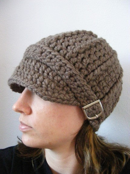 Adult Taupe Buckle Beanie