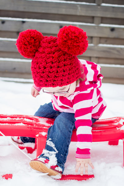 2T to 4T Red Pom Pom Hat