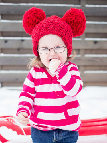 2T to 4T Red Pom Pom Hat by Two Seaside Babes