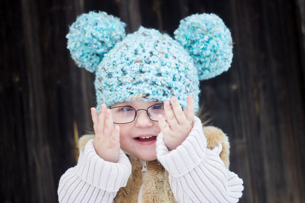 2T to 4T Sea Blue & Brown Pom Pom Hat