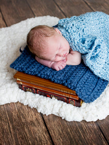 Denim Blue | newborn photo prop layering baby blanket, basket stuffer, bucket filler by Two Seaside Babes