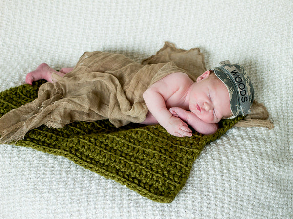 Olive Green | newborn photo prop layering baby blanket, basket stuffer, bucket filler