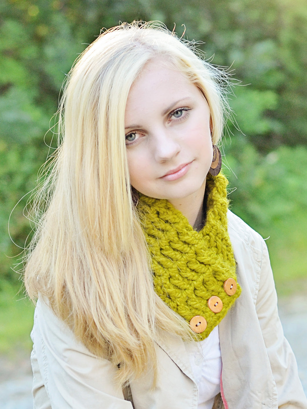 Adult Lemongrass Button Scarf by Two Seaside Babes