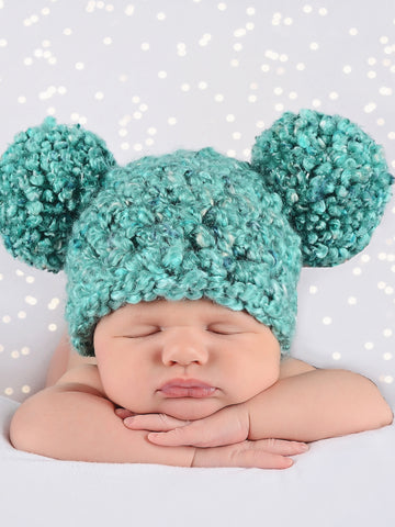Newborn Teal Pom Pom Hat by Two Seaside Babes