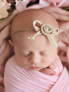 Newborn baby girl tieback - burlap bow and rosette flower by Two Seaside Babes