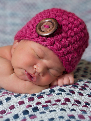 Raspberry pink button beanie baby hat by Two Seaside Babes