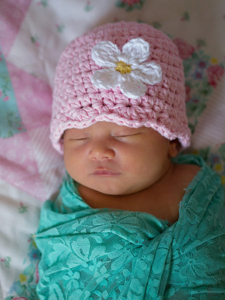 Pale pink flapper beanie hat | 34 flower colors available
