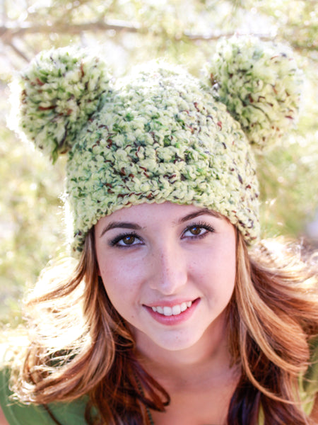 Forest green giant pom pom winter hat by Two Seaside Babes