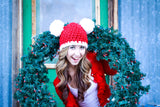 Adult Santa hat | Christmas hat | Red & White pom pom