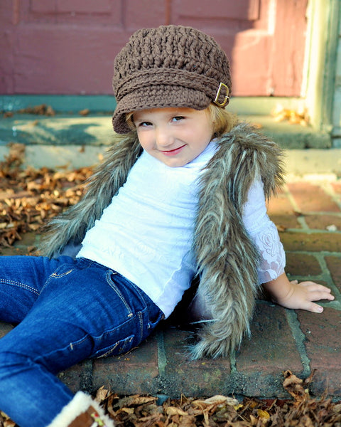 2T to 4T Toddler Chocolate Brown Buckle Newsboy Cap