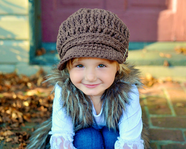 Chocolate Brown Buckle Newsboy Cap