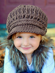 2T to 4T Toddler Chocolate Brown Buckle Newsboy Cap by Two Seaside Babes