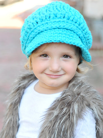 2T to 4T Turquoise Blue Buckle Newsboy Cap by Two Seaside Babes