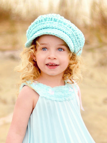 2T to 4T Aqua Blue Buckle Newsboy Cap by Two Seaside Babes