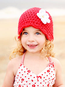 Red flapper beanie hat | 32 flower colors available by Two Seaside Babes