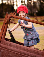 2T to 4T Red Buckle Newsboy Cap