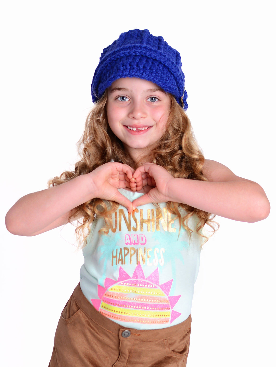 4T to Preteen Kids Cobalt Blue Buckle Beanie by Two Seaside Babes